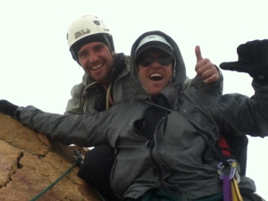 Photo of Ivo and his climbing partner on the summit of the South Tower.